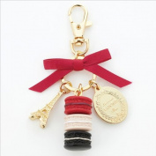 LADUREE Keychain Ring Eiffel Tower Macaron Charm S -RED