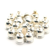 20 Pcs Decorative DIY Crafts Silver Polished Metal Cap Bells