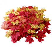 200 Artificial Fall Maple Leaves in a Mixture of Autumn Colours - Great Autumn Table Scatters for Fall Weddings & Autumn Parties