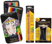 Prismacolor Premier Coloured Pencil and Accessory Set, Set of 24 Prismacolor Premier Coloured Pencils, One Prismacolor Premier Pencil Sharpener, and a 2-pack of Prismacolor Colourless Blender Pencils