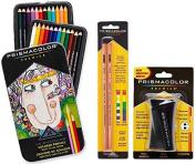 Prismacolor Premier Coloured Pencil and Accessory Set, Set of 24 Prismacolor Premier Coloured Pencils, One Prismacolor Premier Pencil Sharpener, and a 2-pack of Prismacolor Colourless Blender Pencils