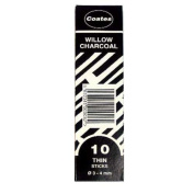 Coates Willow Charcoal Small Box Thin 10 sticks per box
