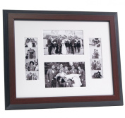 CreativePF [4x 6event11x 14mh-w] Mahogany Event Photo Booth Frame Ð Holds 2- 4 by 6 and 2- 5.1cm by 15cm Photographs with White Collage Mat and Stand