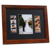 CreativePF [5x 7event11x 14wal-b] Walnut Event Photo Booth Frame Ð Holds 1- 13cm by 18cm and 2- 5.1cm by 15cm Photographs with Black Collage Mat w/ Stand