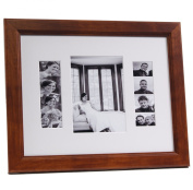 CreativePF [4x 6event11x 14wal-w] Walnut Event Photo Booth Frame Ð Holds 2- 4 by 6 and 2- 5.1cm by 15cm Photographs with White Collage Mat and Stand