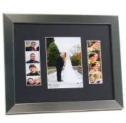 CreativePF [5x 7event11x 14ss-b] Stainless Steel Event Photo Booth Frame Ð Holds 1- 13cm by 18cm and 2- 5.1cm by 15cm Photographs with Black Collage Mat w/ Stand