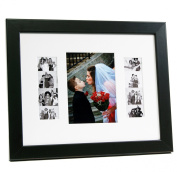 CreativePF [5x 7event11x 14bk-w] Black Event Photo Booth Frame Ð Holds 1- 13cm by 18cm and 2- 5.1cm by 15cm Photographs with White Collage Mat w/ Stand