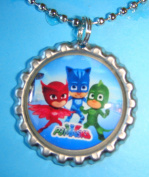 1 PJ Masks Silver Bottle Cap Pendant Necklace #9