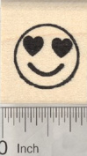 Smiling Face Rubber Stamp, with Heart-Shaped Eyes, .190cm Emoji