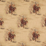 Designer Fabrics A022 140cm . Wide , Rodeo, Cowboys And Horses, Themed Tapestry Upholstery Fabric