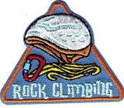 """""""ROCK CLIMBING""""- Iron On Embroidered Applique Patch -Sports, Words, Climbing"""