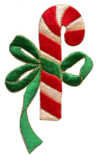 ID #8187A Candy Cane & Bow Christmas Holiday Embroidered Iron On Applique Patch