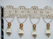 6.4cm Unique Tassel Fringe Trim Ball Bead Ivory Per Yard