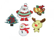 5 small pieces CHRISTMAS Iron On Patch Fabric Applique Motif Children Santa Claus Father Christmas Tree Reindeer Bells Snowman Decal