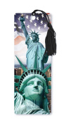 Dimension 9 3D Lenticular Bookmark with Tassel, Statue of Liberty Featuring New York City Skyline and American Flag