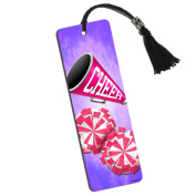 Cheerleading Megaphone and Pink Pom Poms Printed Bookmark with Tassel