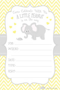 Little Peanut Elephant Baby Shower Invitations - Boy or Girl Gender Neutral - Fill In Style (20 Count) With Envelopes