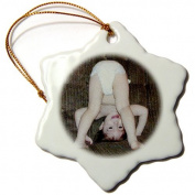 3dRose orn_36700_1 Funny Baby Oil Painting Snowflake Porcelain Ornament, 7.6cm