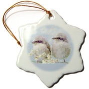 3dRose orn_23825_1 Fledgling Baby Sparrows Learning to Fly Digital Oil Painting Snowflake Ornament, Porcelain, 7.6cm