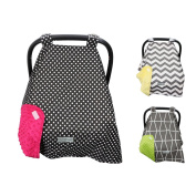 Crazzie Carseat Canopy Cover LARGEST (Cool Weather Spotted Black/Fuschia) SEE ALL DESIGNS