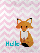 Manual Hello Fox Lightweight Pink Chevron Dyed Plush Fleece Nursery Blanket Throw SAHFOX 80cm x 100cm