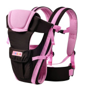 Drasawee Front and Back Multifunctional 3D Breathable Netted Cotton Infant Baby Carriers Bag Sling Pink