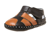 Boys Girls Infant Toddler Leather Soft Sole Baby Shoes Sandals - Brown & Orange