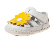 Girls Infant Toddler Leather Soft Sole Baby Shoes Sandals - White Yellow Flower