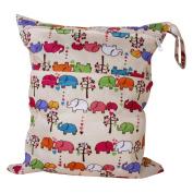 2-Zip Washable Baby Cloth Nappy Nappy Bag Elephant Pattern