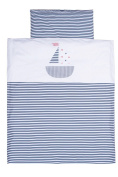 Vizaro - Quilt & pillow for Moses Basket - 100% Luxury Cotton - Little Sailing Boat - Tested against harmful substances - Made in EU