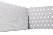Vizaro - Padded Bumper for COT BED - 100% Premium Quality Luxury Cotton - Polka Dots and Stripes Collection - White & Grey Colours - Tested against harmful substances - Made in EU