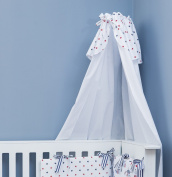 Vizaro - Canopy with Holder for Baby Cot/ Cot Bed - 100% Premium Quality Luxury Cotton - Beach Huts Collection - Blue, red & white colours - Tested against harmful substances - Made in EU