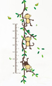 Monkey and Tree Vinyl Wall Decal Growth Chart for Kids, Nursery Room