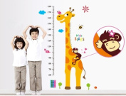 Free Will Tall Giraffe Height Chart with Kids Sizes Wall Decal Nursery Room Wall Decor Sticker