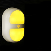 Banwen LED Night Light With Sensor, Smart Nightlight for Kids Baby Room, Battery Powered, Wall Path Light Perfect for Bathrooms, Basement, Hallway, Laundry Room, Stairwells, Path, Closets -Eye-Care Warm Yellow Light