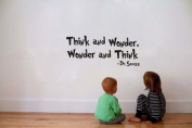 """Dr.seuss quote """"Think and wonder,Wonder and think"""" kid's room wall sign vinyl lettering decal wall words art nursery wall decor quote"""