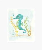 Sea Urchin Studio Art Print, Watercolour Seahorse, 20cm x 25cm