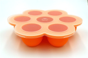 Baby Food Preparation & Storage Container Tray with Silicone Clip-on Lid - 9 X 80ml Easy-out Pods - BPA Free & FDA Approved - Lifetime Guarantee - Orange