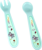 Baby 2-pieces Eating learning cutlery Hippo blue