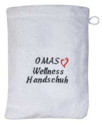 """Washcloth washcloth with Embroidery """"Grannies WELLNESS GLOVE"""" NEW"""