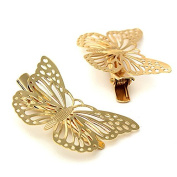 1 Pair Luxury Golden Colour Butterfly Hair Clip Hair Pins Hair Accessories