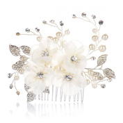 AlicePub Flower Side Hair Comb Wedding Bridal Headpiece Bridesmaid Accessory