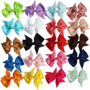 YiZYiF 20 PCs Handmade Big Bow Hair Clip Alligator Clips Girls Kids Sides Accessories