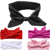 5pcs/lot Lovely Bunny Ear Headband Scarf Hair Head Band Bow Elastic Knot Headband Rabbit Baby Hair