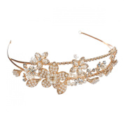 AlicePub Wedding Bridal Gold Headband Headpiece Bridesmaid Hair Accessory