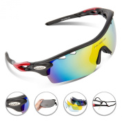 RIVBOS 801 polarised Sports Sunglasses with 5 Interchangeable Lenses Fluorescent Colour