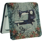 The Olivia Collection Old Sewing Machine Design 2x Magnification Square Compact Mirror SC1174