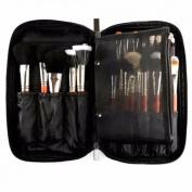 LuckyFine Professional Travel Cosmetic Makeup Brush Kit Bag Case Tool Set Pouch Handbag black