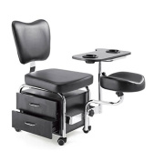 Urbanity manicure pedicure nail station beauty chair stool table spa drawers black