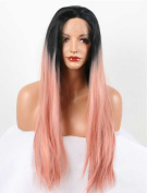 Tsnomore Salmon Pink Ombre Natural Straight Synthetic Lace Front Wig